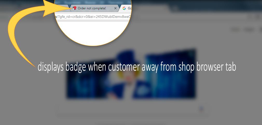 Browser tab badge notification - cart reminder